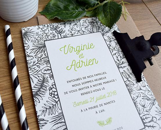 faire part mariage vegetal gris et vert papier recycle