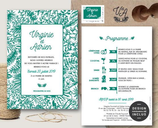faire part mariage green feuillage avec plantes et végétaux