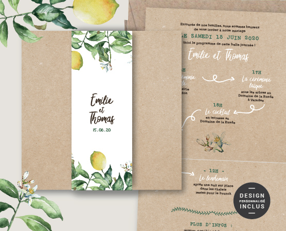faire part mariage personnalisable végétal chic kraft citron italie