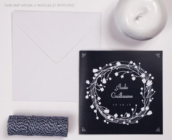 Faire-part de mariage Natura | fond kraft couronne de fleur blanche champêtre chic | Pastilles et Petits Pois