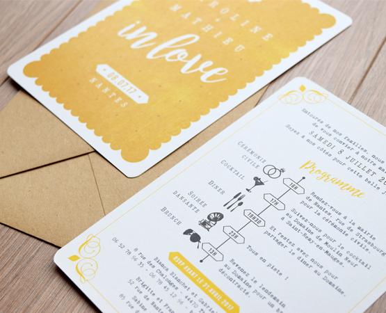 faire-part de mariage Love in Nantes | jaune moutarde programme pictogrammes | Pastilles et Petits Pois