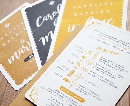 faire-part de mariage Love in Nantes | petit beuure nantais jaune moutarde gris | Pastilles et Petits Pois