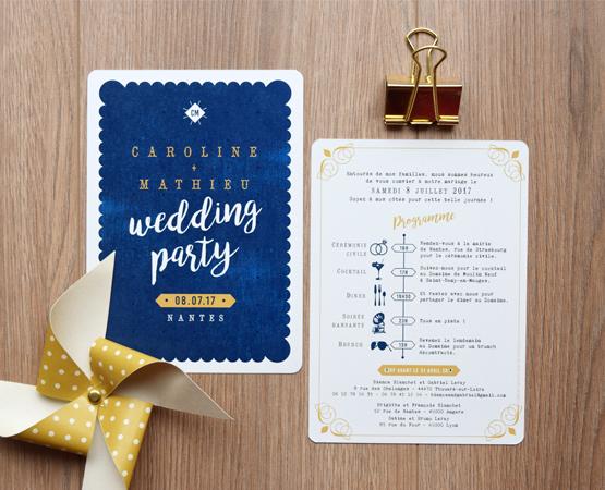 faire-part de mariage Love in Nantes | petit beurre nantais bleu | Pastilles et Petits Pois
