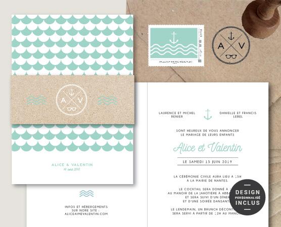 faire part mariage format original chic thème mer avec écailles , vagues et logo bleu