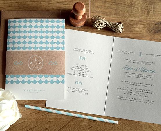 faire-part mariage motif scandinave theme mer bleu mint