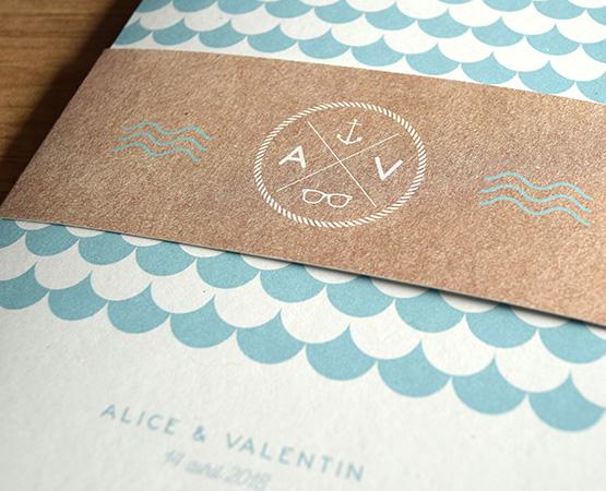 faire-part de mariage Sea your Love | motif scandinave theme mer bleu mint | Pastilles et Petits Pois