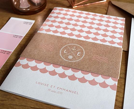 faire-part de mariage Sea your Love | chic champetre avec motif geometrique rose corail peche pastel | Pastilles et Petits Pois