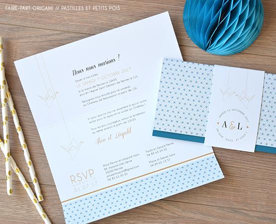 faire part mariage motifs geometriques bleu or oiseaux chic