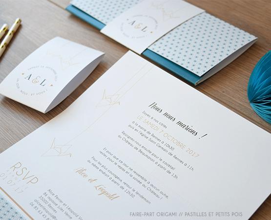 faire-part de mariage Origami | motifs geometriques bleu or oiseaux chic | Pastilles et Petits Pois