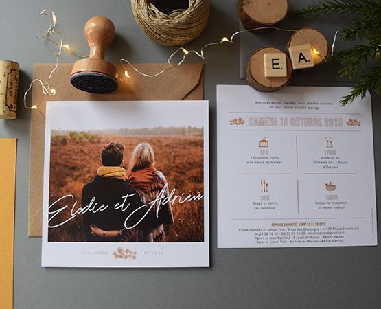 faire-part mariage avec photo de couple