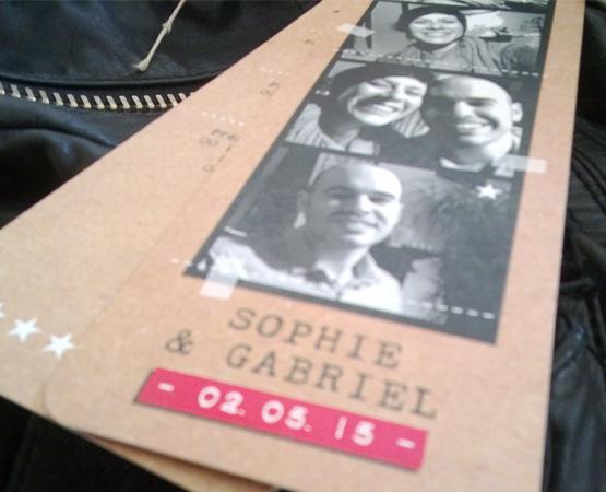Faire-part de mariage Mosaïque | photomaton vintage bohème chic | Pastilles et Petits Pois