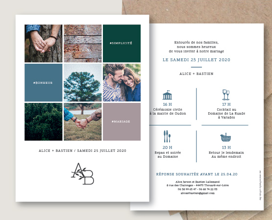 faire part mariage photos moderne inspiration instagram