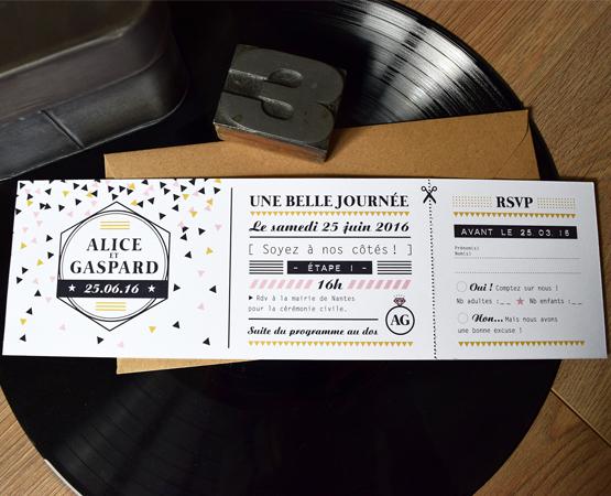 Faire-part de mariage Belle Journée | confettis ticket de concert branché chic | Pastilles et Petits Pois