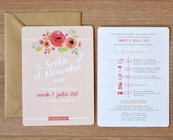 faire-part de mariage Garden party | champetre pastel mint rose gris clair | Pastilles et Petits Pois