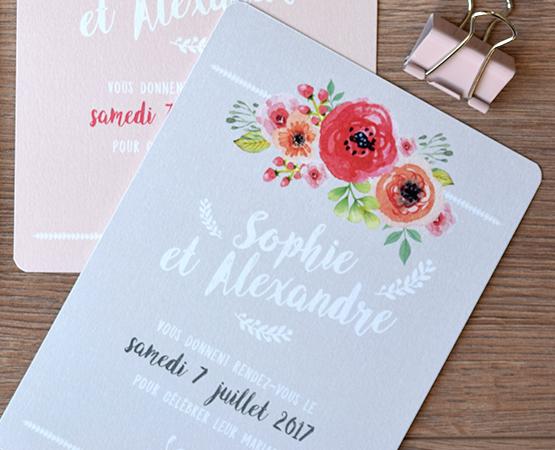 faire-part rose pastel fleurs et aquarelle garden party prénoms calligraphie