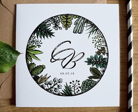 faire-part de mariage Sous la serre | illustration succulentes et plantes grasses | Pastilles et Petits Pois