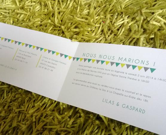 Faire-part de mariage Summer | motifs triangles fanions multicolore | Pastilles et Petits Pois