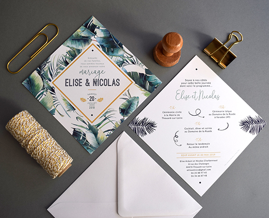 faire part mariage tropical chic feuilles jungle