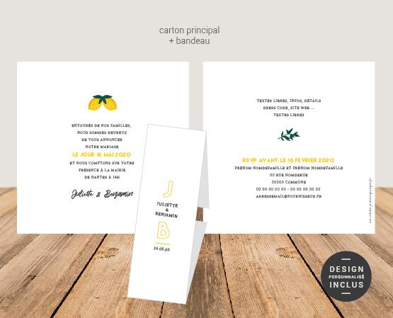 faire part mariage avec bandeau chic thème citrons ou tropical avec motifs