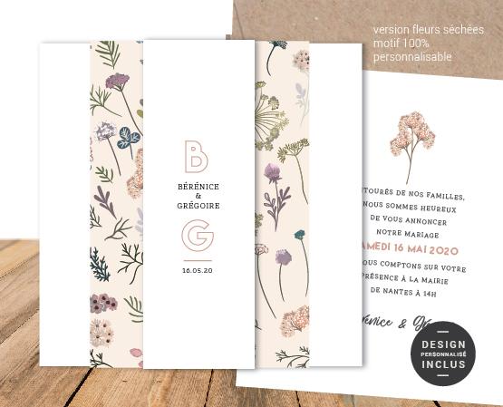 faire part mariage avec bandeau chic thème fleurs séchées pampa et linfaire part mariage avec bandeau chic thème fleurs séchées pampa et lin