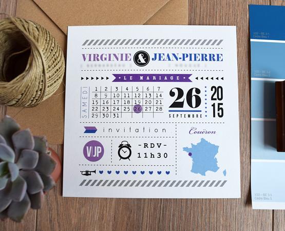 Faire-part de mariage Typolovely | pictogrammes et jeu de typo carte de france | Pastilles et Petits Pois