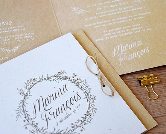 Faire-part de mariage Vegetal kraft | champetre chic fond kraft couronne vegetale | Pastilles et Petits Pois