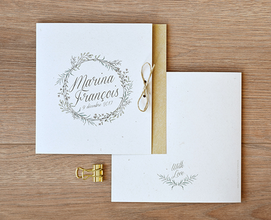 faire part mariage champetre chic fond kraft couronne vegetale
