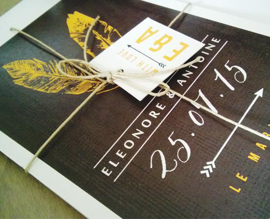 Faire-part de mariage Vintage | plumes nature cordellete lin | Pastilles et Petits Pois