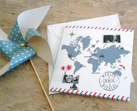 Faire-part de mariage Travel | thème voyage picto carte du monde | Pastilles et Petits Pois