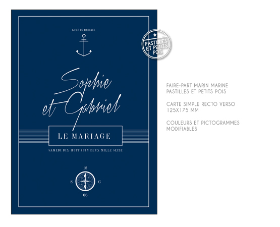 faire part mariage chic theme marin marine bord de mer rayures ancre bleu boussole