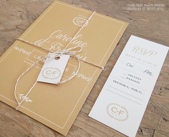 Faire-part de mariage Marin Marine | mariage elegant or sable kraft typo calligraphie chic logo couronne | Pastilles et Petits Pois