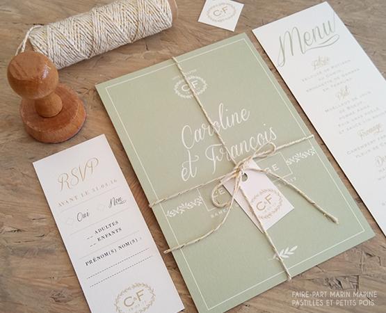 faire part mariage elegant vert provence typo calligraphie chic