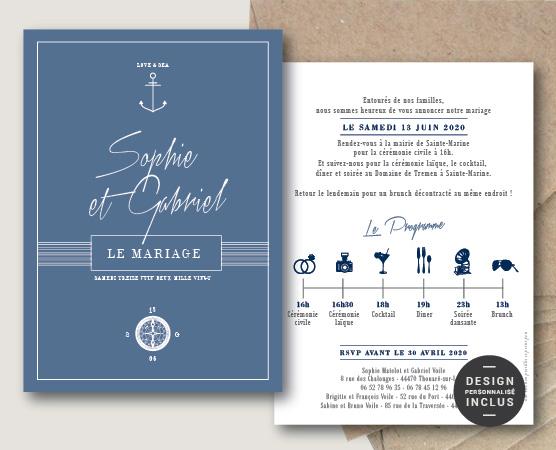 Faire part mariage thème mer et plage chic et original bleu