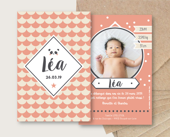 faire part naissance bébé vintage motifs écailles coloré pois et panda