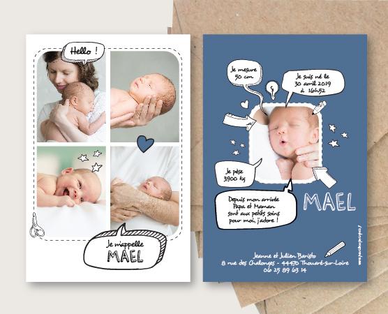 faire part naissance original gai bulle bd bande dessinée ludique coloré mixte papier recyclé