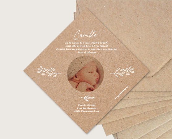 faire part naissance couronne chic papier kraft recyclé fille personnalisable