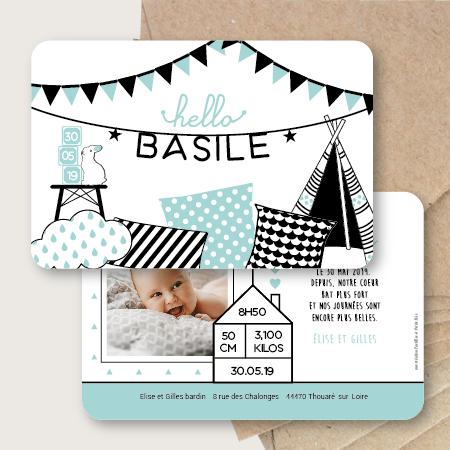 faire part naissance babyroom ecoration chambre bébé lapin tipi mixte