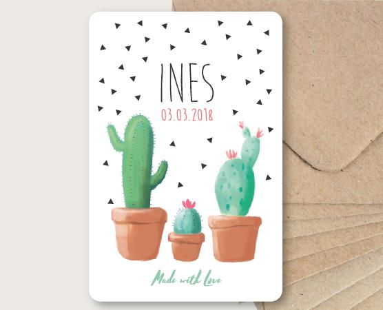 faire part naissance cactus dessin plante original triangles graphiques mixte