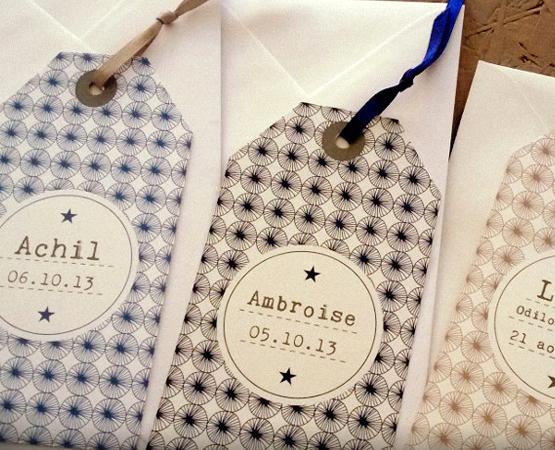 Faire-part de naissance Le Petit Mot | étiquette tag bagage motif scandinave vintage mixte | Pastilles et Petits Pois