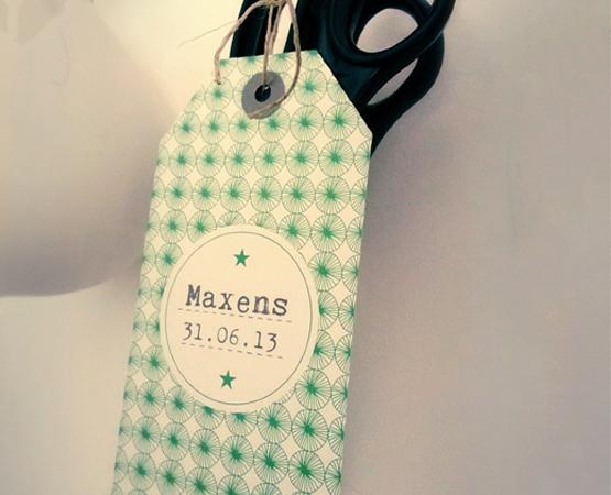 Faire-part de naissance Le Petit Mot | étiquette tag bagage motif scandinave vintage bleu | Pastilles et Petits Pois