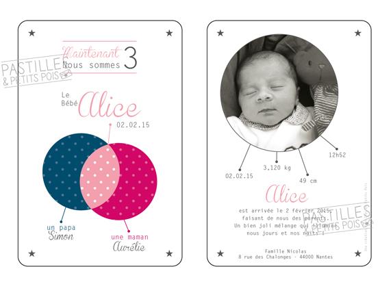 Faire-part de naissance Family | bleu rose framboise thème famille | Pastilles et Petits Pois