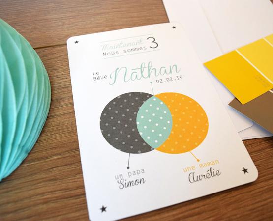 Faire-part de naissance Family | gris vert jaune moutarde thème famille | Pastilles et Petits Pois