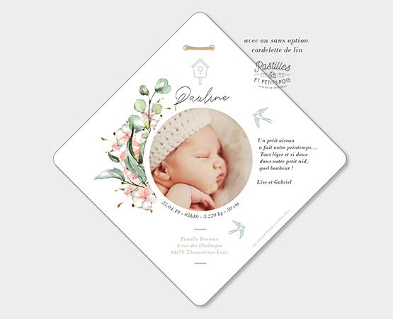 faire part naissance fille format original losange cordelette lin couronne de fleurs et oiseaux douceur bébé de printemps