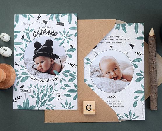 faire part naissance mixte jeune pousse papier recyclé écologique fleuilles eucalyptus fleurs