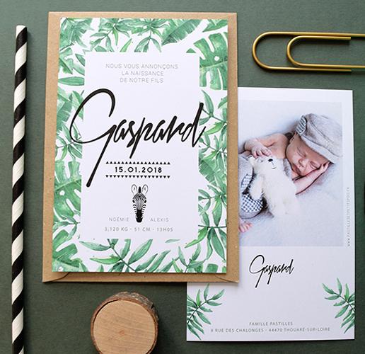 faire part naissance jungle bébé tropical feuillage chic prénom calligraphie design moderne