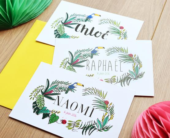 Faire-part de naissance Lola tropical | carte postale exotique mixte | Pastilles et Petits Pois