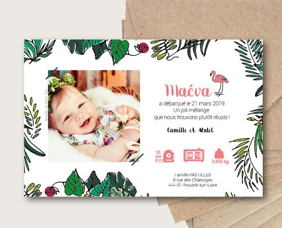 Faire-part de naissance Lola tropical par Pastilles et Petits Pois thème exotique toucan et fleurs bébé été