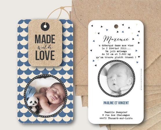 faire part naissance avec motifs écailles et étiquette kraft et cordelette de lin papier recyclé