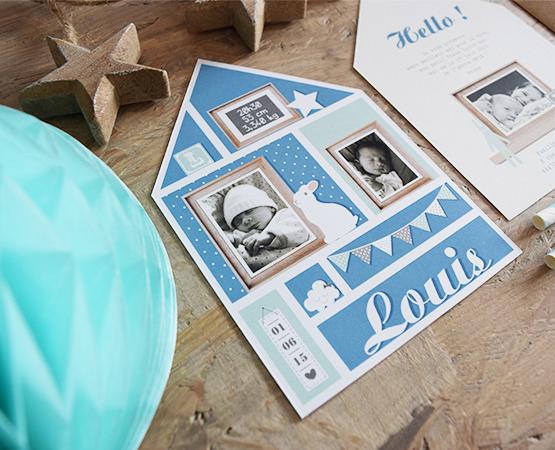Faire-part de naissance Homebaby | maison scandinave bleu garçon | Pastilles et Petits Pois