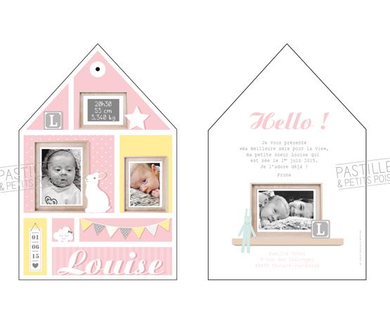 Faire-part de naissance Homebaby | maison scandinave couleurs pastels fille | Pastilles et Petits Pois